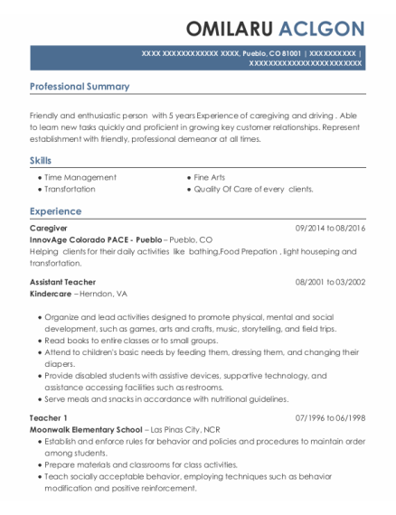 Caregiver resume example Colorado