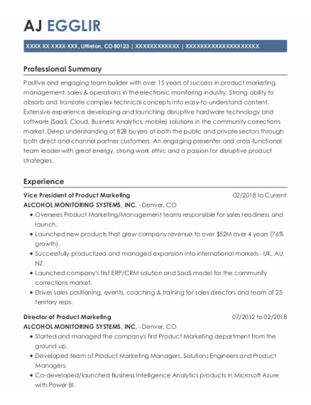 National Sales Manager resume example Colorado