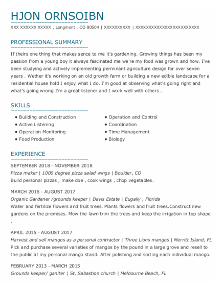 Pizza Maker resume sample Colorado