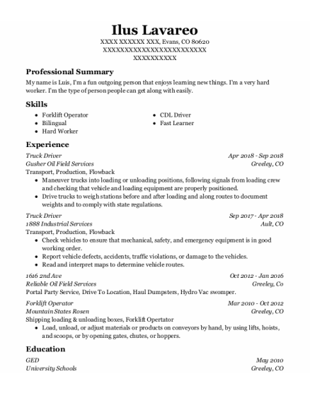 Truck Driver resume example Colorado