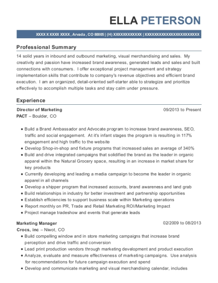 Director of Marketing resume format Colorado
