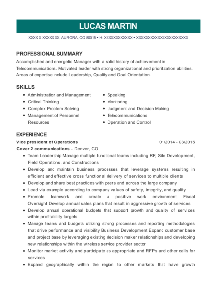 Vice president of Operations resume format Colorado