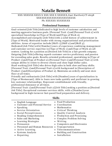 Sea food Clerk resume format Connecticut