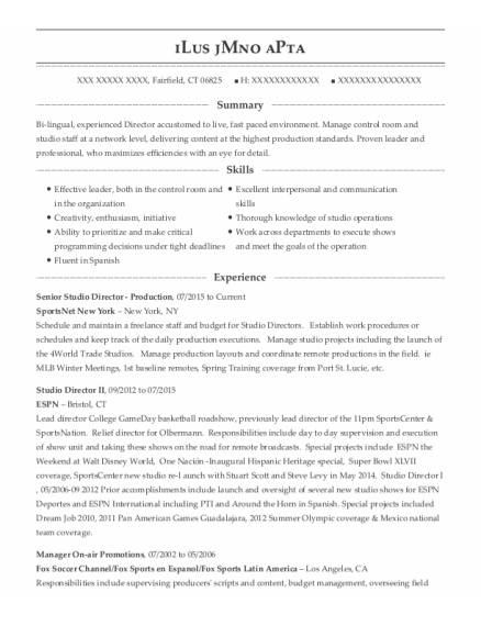 Producer resume sample Connecticut