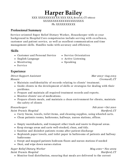 Direct Support Assistant resume example Connecticut