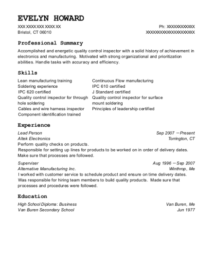 Lead Person resume template Connecticut