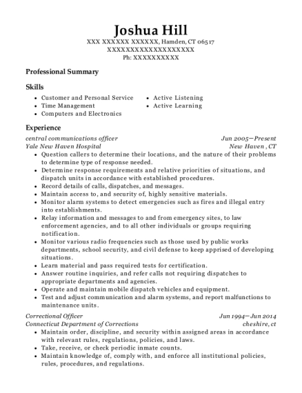 central communications officer resume format Connecticut