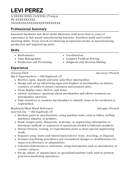 Grocery Clerk resume format Connecticut