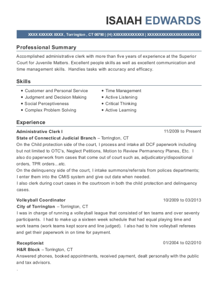 Administrative Clerk I resume example Connecticut