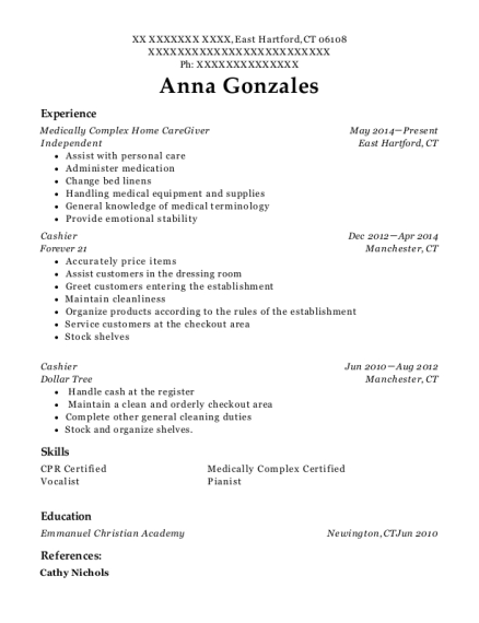 Medically Complex Home CareGiver resume example Connecticut