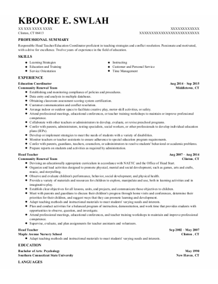 Education Coordinator resume format Connecticut