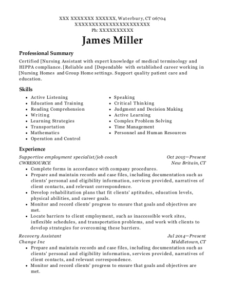 Supportive employment specialist resume template Connecticut