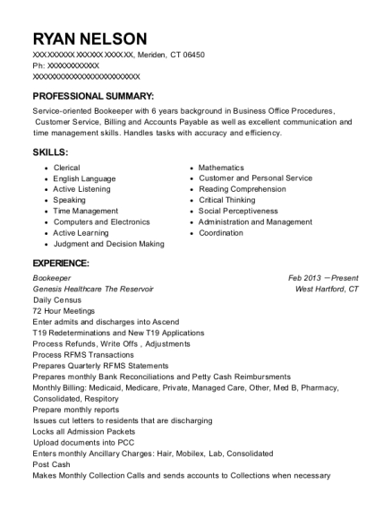 Bookeeper resume example Connecticut
