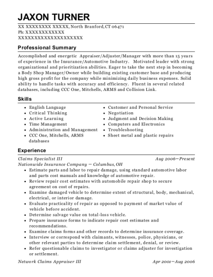 Claims Specialist III resume template Connecticut