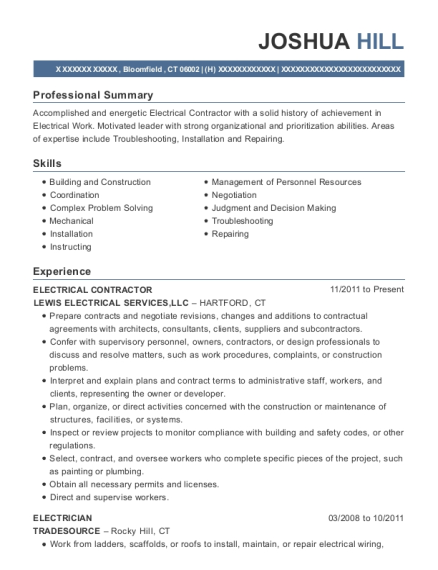ELECTRICAL CONTRACTOR resume template Connecticut