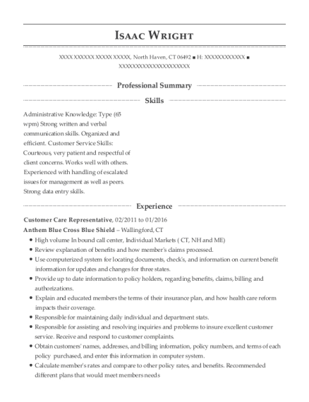 Customer Care Representative resume template Connecticut