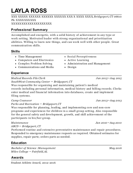 Medical Records File Clerk resume example Connecticut