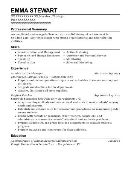 Administrative Manager resume format Connecticut