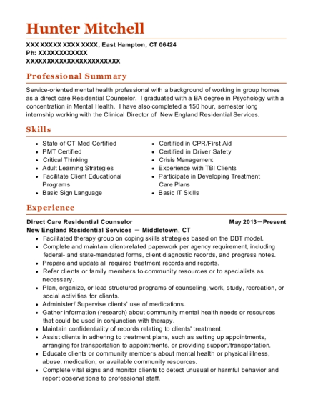 Direct Care Residential Counselor resume example Connecticut