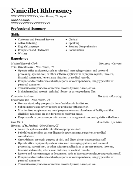 Medical Records Clerk resume format Connecticut