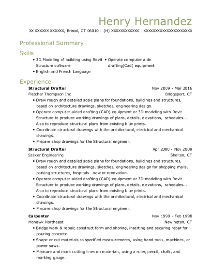 Structural Drafter resume example Connecticut