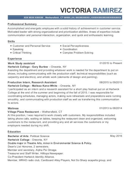 Work Study assistant resume example Connecticut