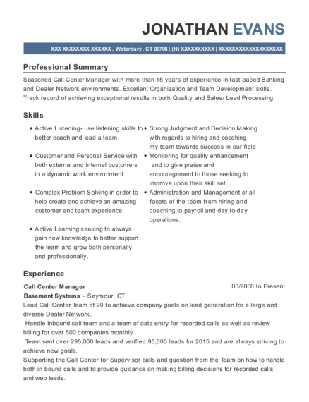Call Center Manager resume format Connecticut