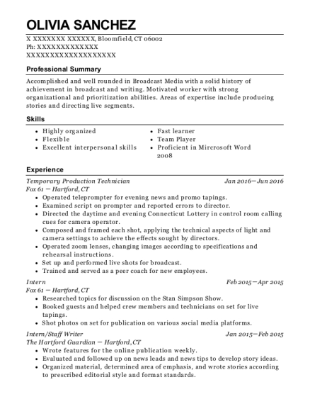 Temporary Production Technician resume format Connecticut