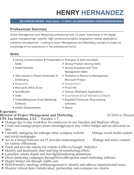Director of Project Management and Marketing resume template Connecticut