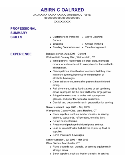 Banquet server resume sample Connecticut