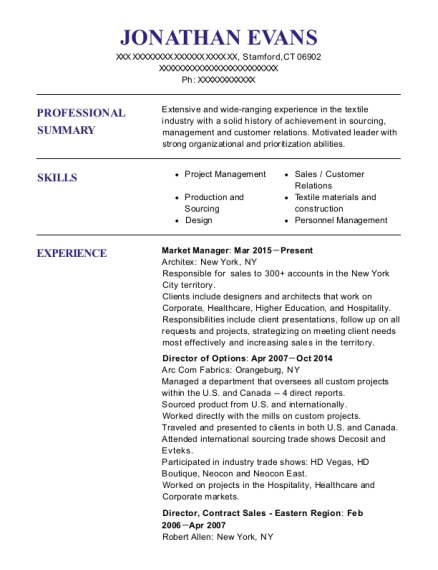 Market Manager resume template Connecticut