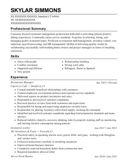 Restaurant Manager resume example Connecticut