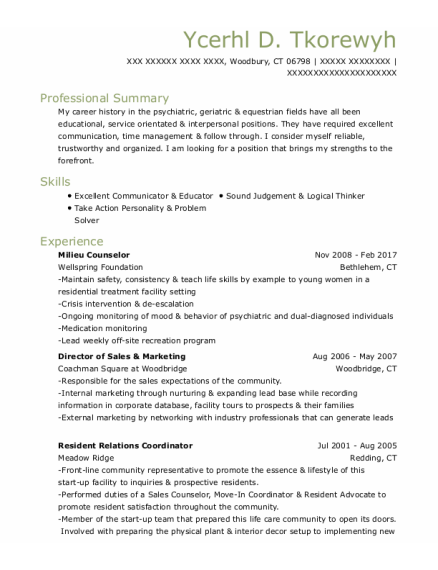Resident Counselor resume sample Connecticut