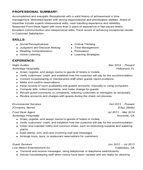 Night Auditor resume template Connecticut