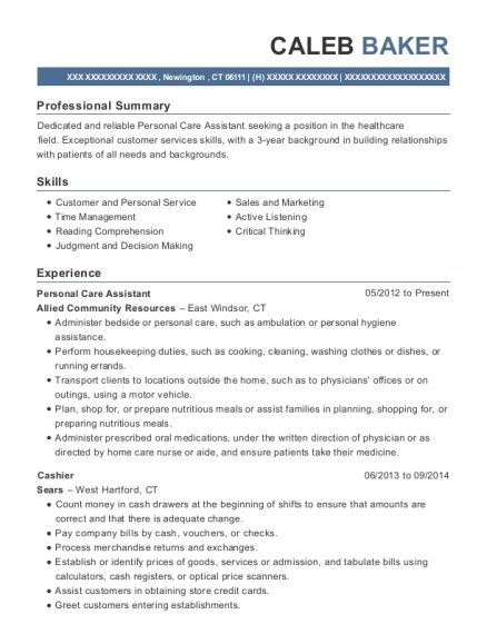 Personal Care Assistant resume format Connecticut