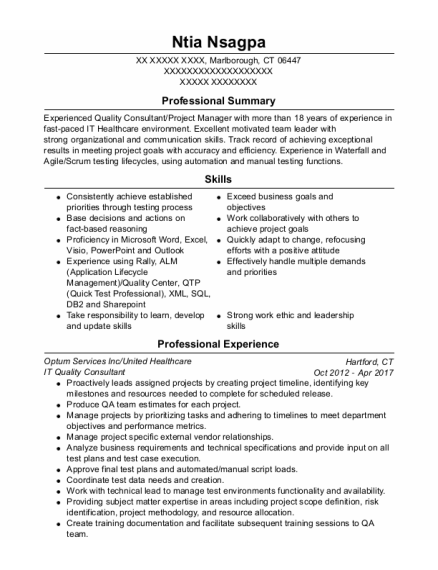 Quality Control Analyst resume template Connecticut