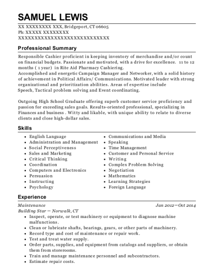 Maintenance resume sample Connecticut