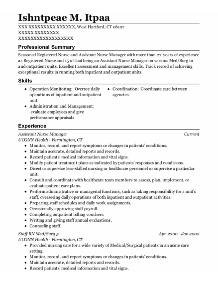 Assistant Nurse Manager resume template Connecticut