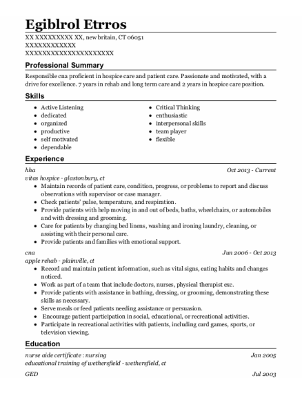 hha resume sample Connecticut