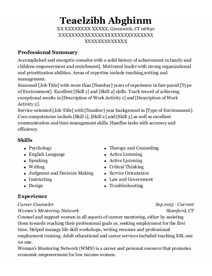 Career Counselor resume example Connecticut