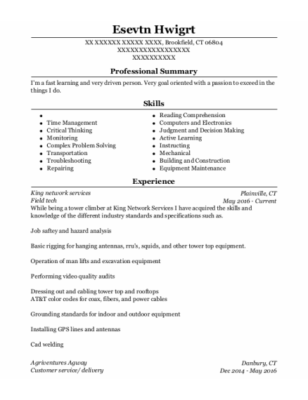 Field Tech resume example Connecticut