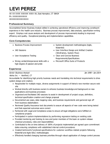 Senior Business Analyst resume format Connecticut