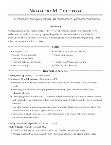 Employment Specialist resume template Connecticut