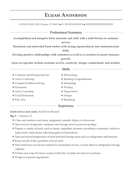 food service and cook resume example Connecticut