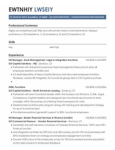 Hr Manager resume format Connecticut