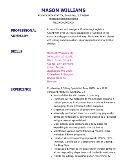 Purchasing & Billing Specialist resume format Connecticut