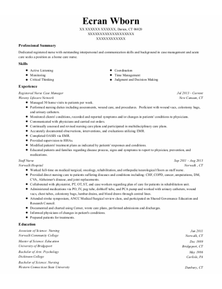Registered Nurse Case Manager resume template Connecticut