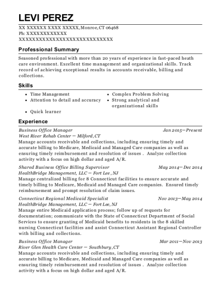 Business Office Manager resume sample Connecticut