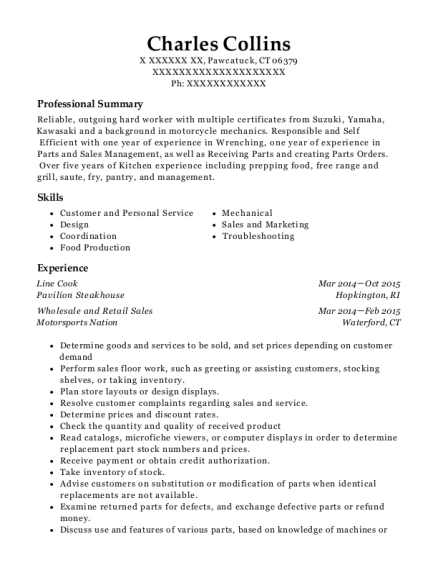 Line Cook resume sample Connecticut