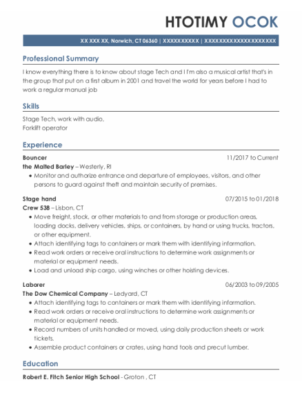 Bouncer resume sample Connecticut